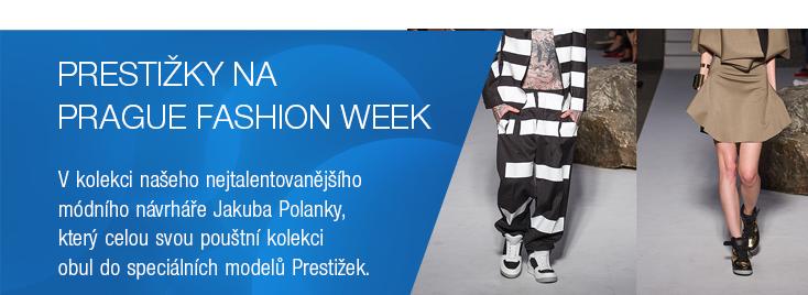 Presti�ky zaz��ily v Praze na MBPFW v kolekci na�eho nejtalentovan�j��ho m�dn�ho n�vrh��e Jakuba Polanky, kter� celou svou pou�tn� kolekci obul do speci�ln�ch model� Presti�ek.